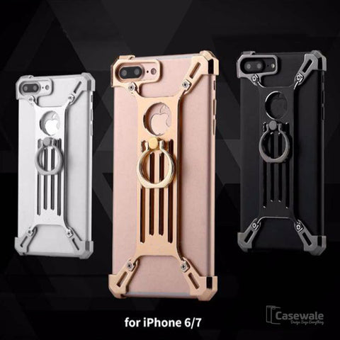 Creative Metal Bumper Zinc Alloy Protective Case with Ring Bracket