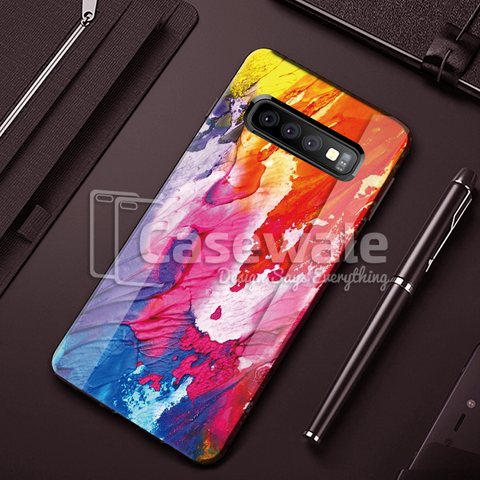 Color Splash Marble Pattern Glass Case for Galaxy S10/ S10 Plus