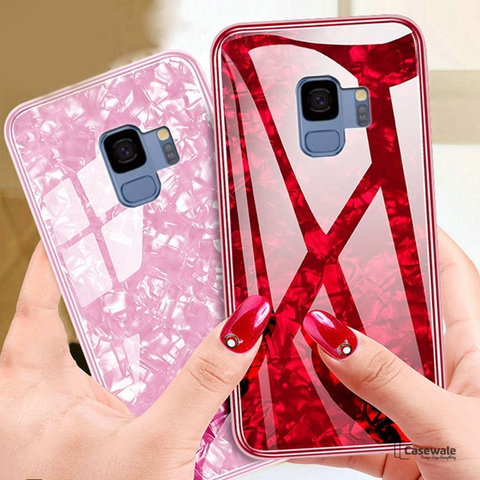 Marble Pattern Tempered Glass Case for Galaxy S9/ S9 Plus