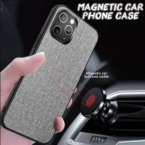 Cloth Pattern Car Vent Magnetic Case for iPhone 12 Series