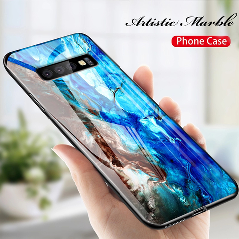 Luxury Artistic Marble Protective Glass Case ( SALE )