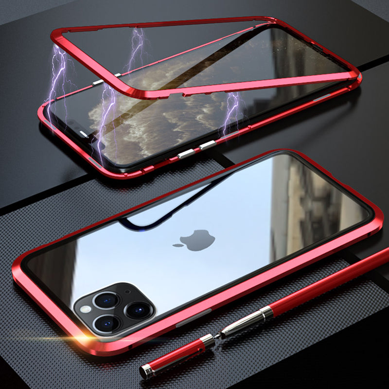 Electronic Auto-Fit Magnetic Glass Phone Case for iPhone 11 Series