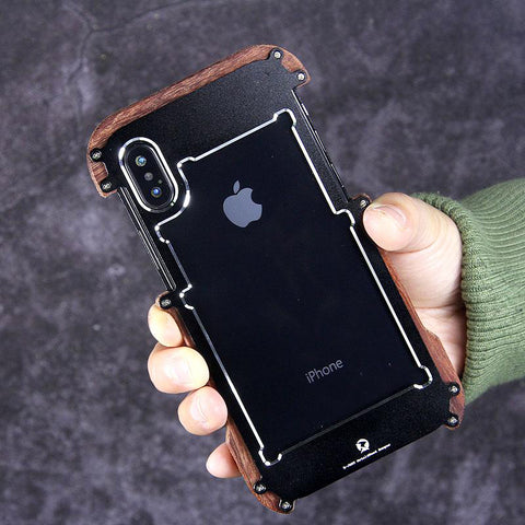 Luxury Metal Aluminum Wood Protective Bumper Case for iPhone X, Xs ,XR or Xs Max