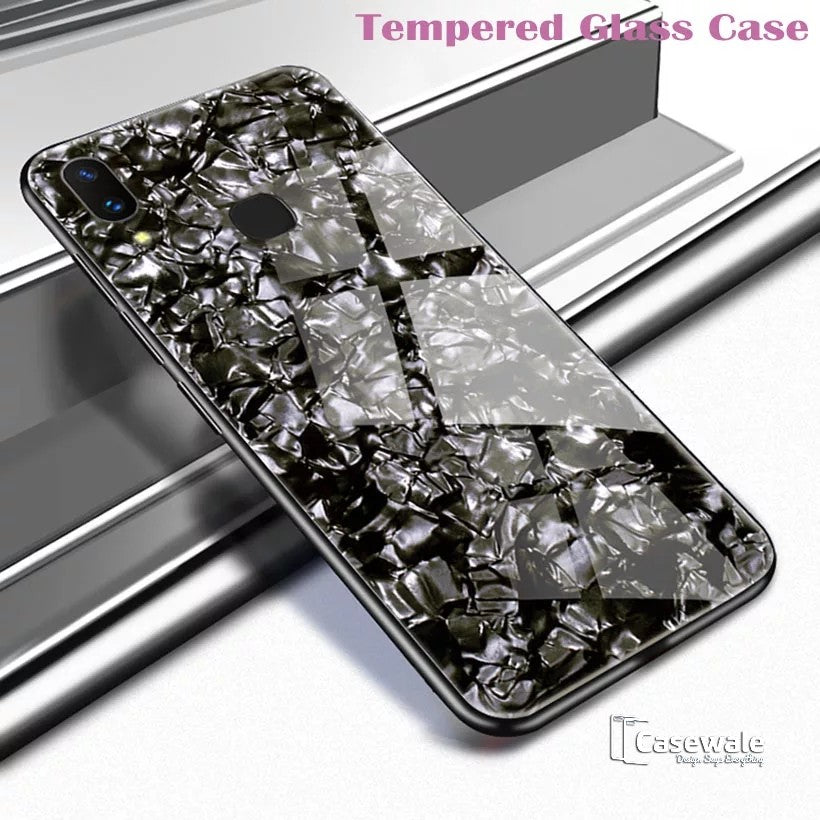Luxury Marble Pattern Tempered Glass Case for Vivo V9