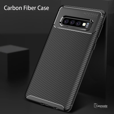 Carbon Fiber Shockproof Soft Case For Galaxy S10/ S10 Plus