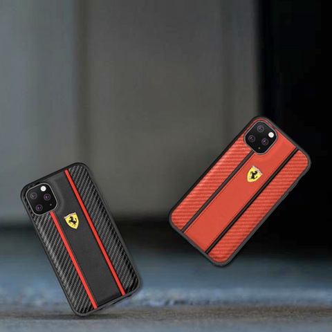 Ferrari Leather Carbon Fiber Hard Case for iPhone 11 Series
