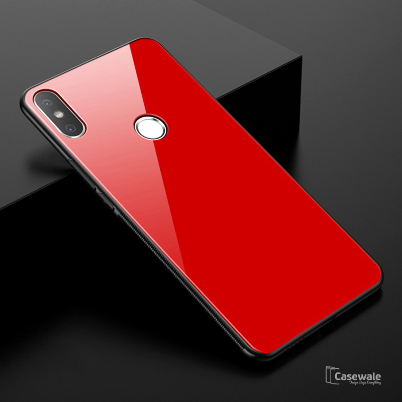 free shipping 0deff 7c80d Luxury 9H Tempered Glass Protective Case for Redmi Y2