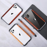 R-JUST Luxury Aluminum Metal Wood Bumper Case for iPhone 11 Series