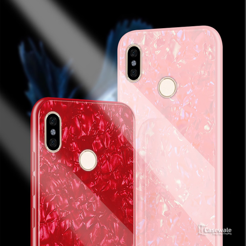 Luxury Marble Pattern Tempered Glass Case for Redmi Y2