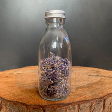 dried lavender in a glass bottle