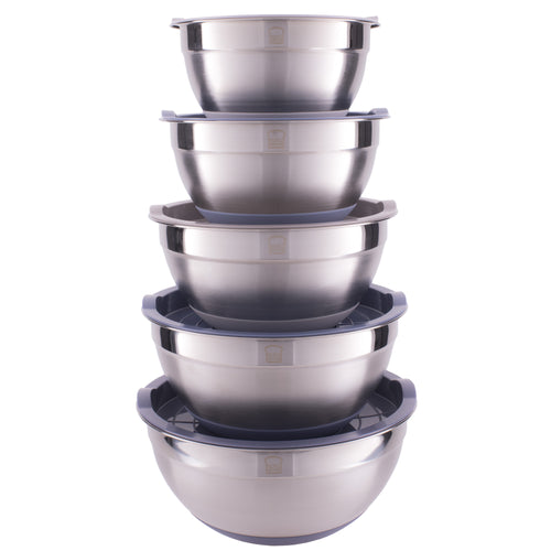 Set of 5 Stainless Steel Mixing Bowls with Non-Slip Silicon Bottom and Lid