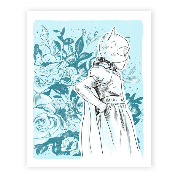 Cat-Girl With Cape Illustrated Print 8.5x11""