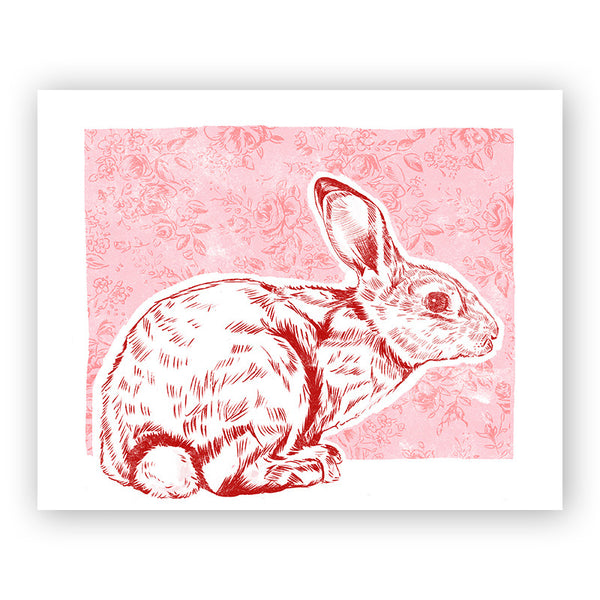 House Rabbit Illustrated Print 8.5x11""