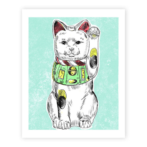 Lucky Cat Illustrated Print 8.5x11""