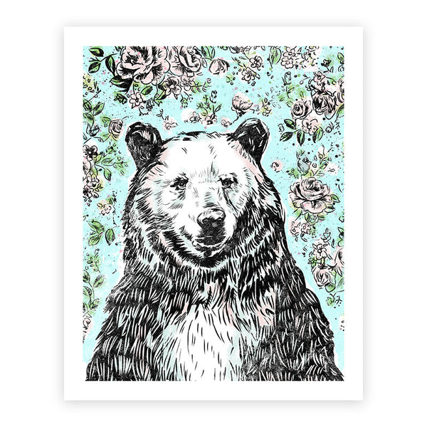 Bear with Roses Print