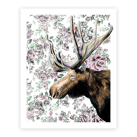 House Moose Illustrated Print 8.5x11""