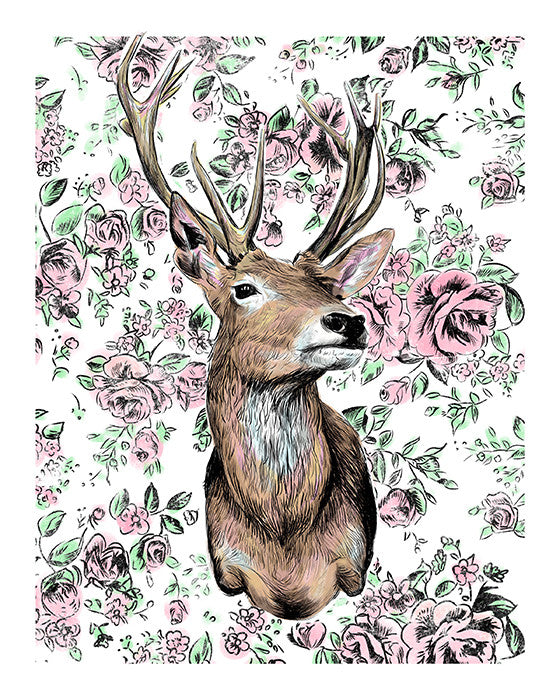 Deer Illustrated Print 8.5x11""