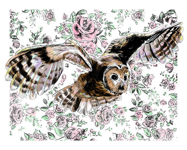 Owl Print Illustrated Print 8.5x11""
