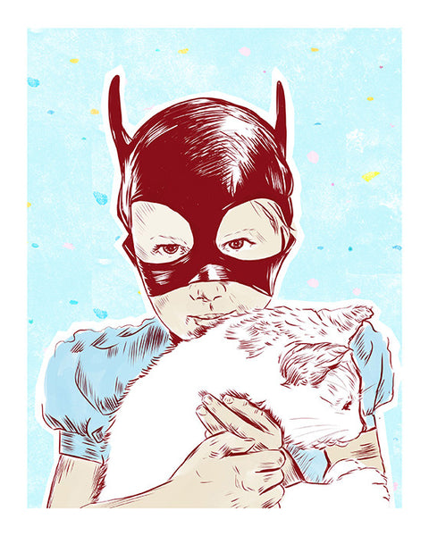 Cat-Girl Holding Cat Illustrated Print 8.5x11""