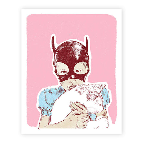 Cat-Girl holding Kitten Illustrated Print 8.5 X 11""