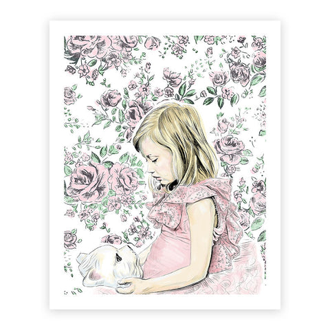 Girl with Cat Mask Illustrated Print 8.5 X 11""