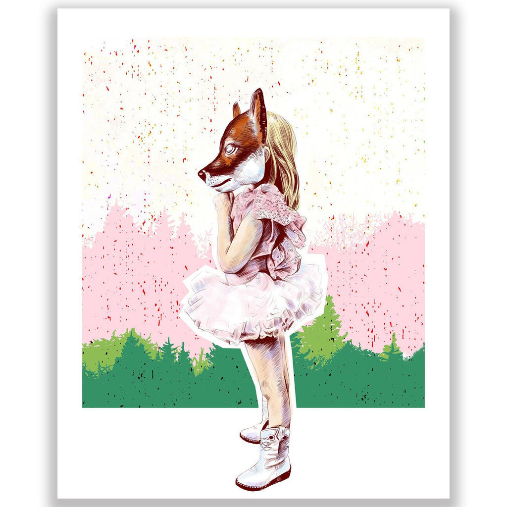 Fox Girl in the Forest Illustration Print 8.5 X 11""
