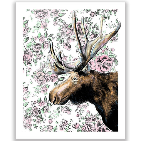 Moose in the House Illustration Print 8.5 X 11""
