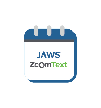 JAWS and ZoomText logo on calendar icon