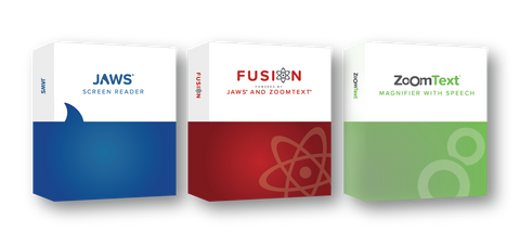 JAWS, Fusion, and ZoomText Product Boxes