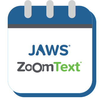 JAWS and ZoomText logo on calendar