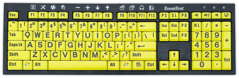 ZoomText Large Print Keyboard Black Letters on Yellow