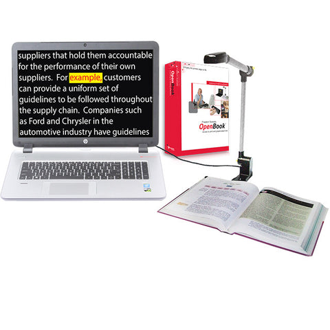 Laptop connected to PEARL camera, formatted text on screen. OpenBook product box