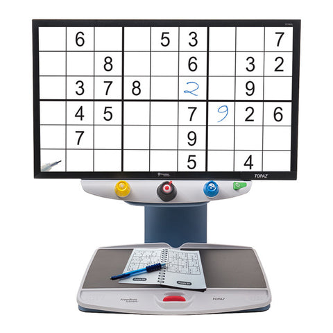 TOPAZ HD with Sudoku puzzle magnified on screen
