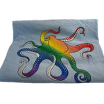 """Be Yourself"" Short Sleeve Unisex Blue Rainbow Octopus T"