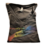 """Be Yourself"" Grey Rainbow V Neck Squid T"
