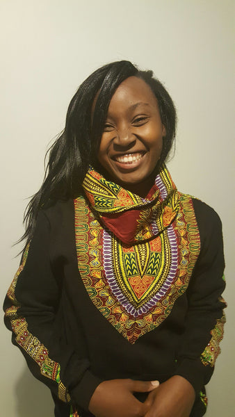 Black Snoody with a maroon-yellow in-built scarf