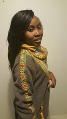Grey Snoody with mixed colors in-built scarf featuring maroon and yellow