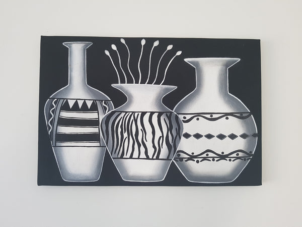 Black and white Flower vases