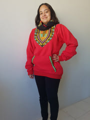 Red Snoody with black in-built scarf