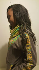 Grey Snoody with mixed color in-built scarf featuring light blue
