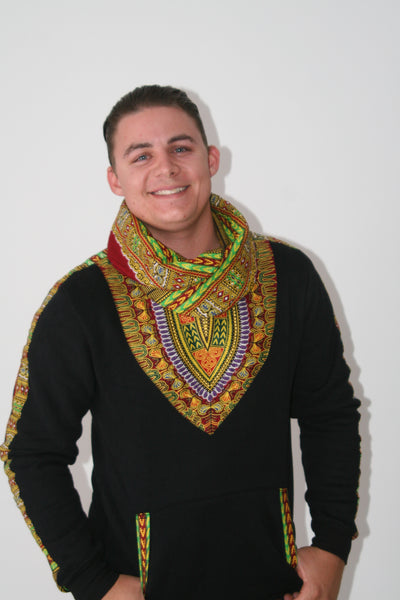 Black Snoody with mixed colors in-built scarf featuring maroon and green