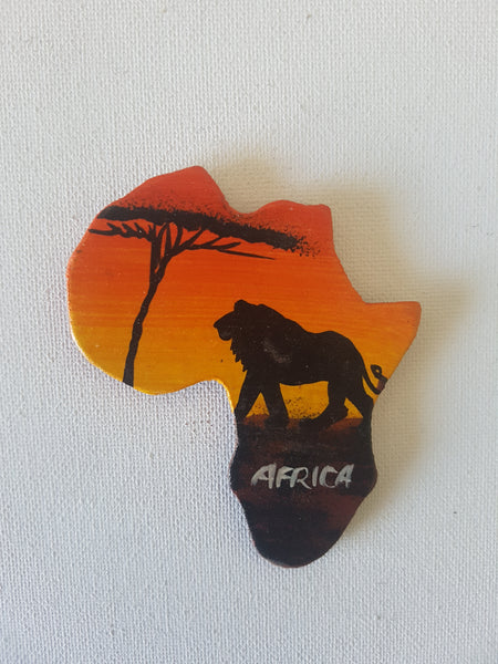 Map of Africa (Sunset and King Lion)