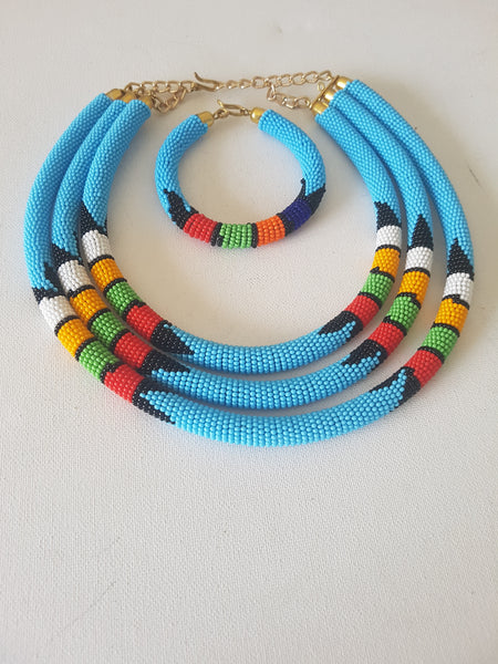 Africana Zulu necklace with Matching bracelet