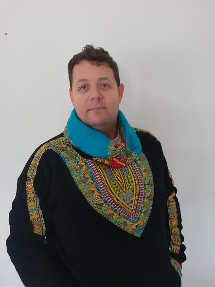 Black Snoody with a Blue in-built scarf