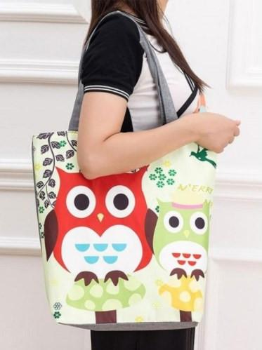 Owl Printed Canvas Handbags