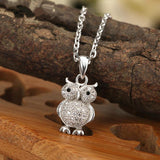 925 Sterling Silver OWL Pendant Necklace