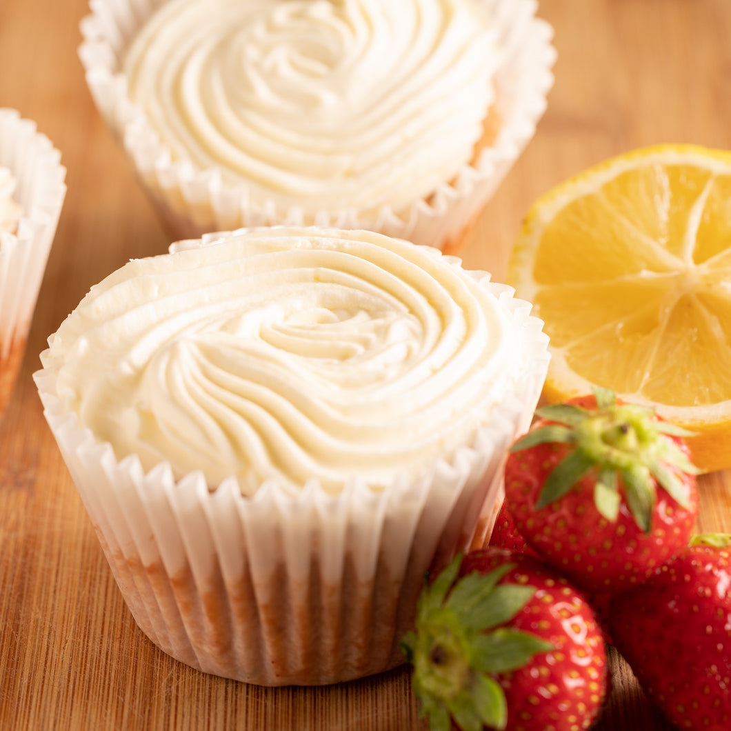 Strawberry Cupcakes with Lemon Butter Cream Frosting