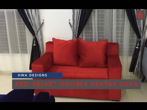 Red Velvet Double seater Sofa - blackfridayeveryfriday
