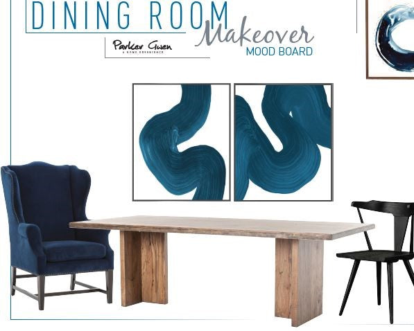 Modern Blue Dining Room Makeover