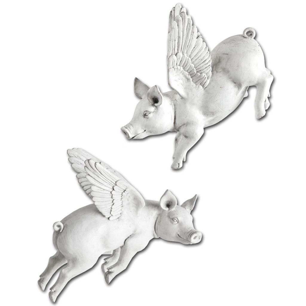 Hogbadi Flying Pigs Wall Accent Set Of 2 White